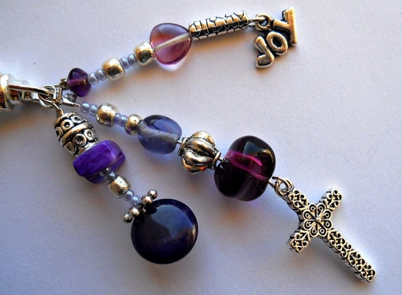 Purple and Silver Decorative Clip with Cross Charm