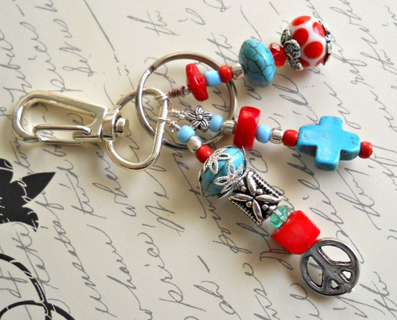 Turquoise, Red and Silver Beaded Keychain