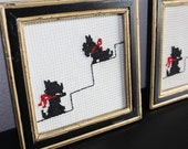 Vintage Scottie Dog Wall Hangings, Hand Embroidered, Ready to Hang
