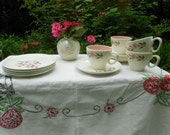 Vintage Plates and cups,  4 Taylor Smith and Taylor Wild Quince Dessert Plates, 4 Cups and Saucers Set. 1961