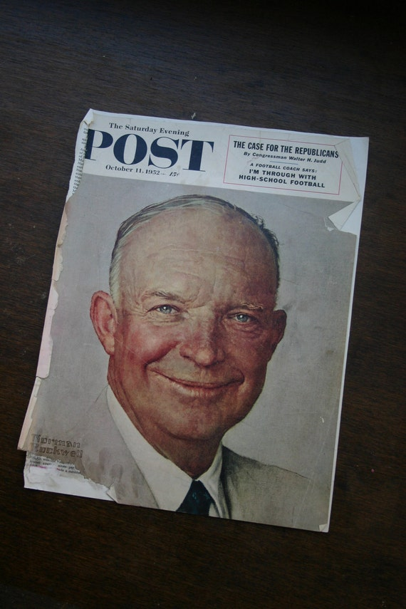 TWO...Saturday Evening Post Magazine Covers of Dwight D. Eisenhower, 1952 and 1956