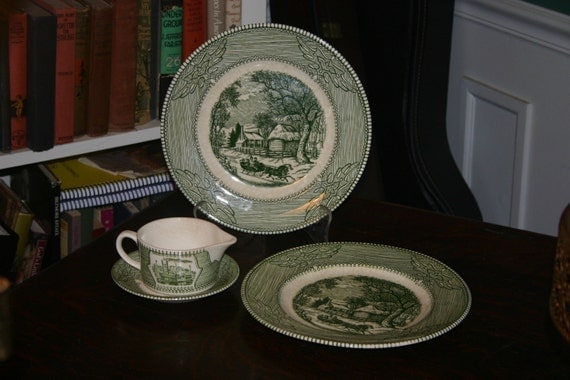 Vintage Mount Clemens China Green/White Ironstone plates and pitcher, made in USA