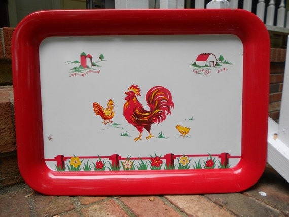 Vintage Tray, Red Rooster Metal Serving Tray