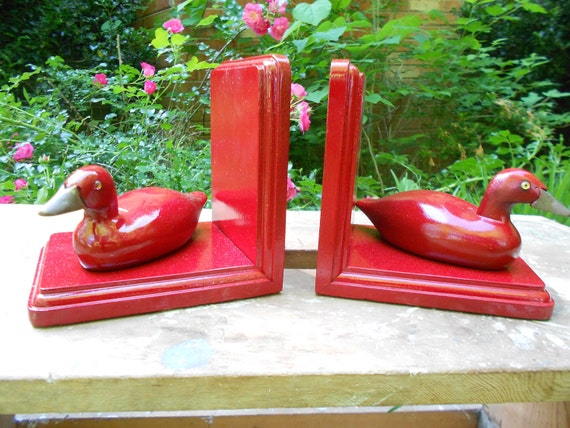 Bookends, Upcycled Vintage Duck Bookends