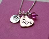 "Sterling Silver ""Daddy's Girl"" Necklace with Initial and Birthstone Charm"