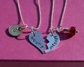 Mother Daughter Broken Heart Necklace Set in Sterling Silver