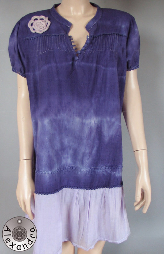 Summer Hand-dyed Tunic,Dress,Upcycled Clothing,Recycled,Violet,Cotton, XXL