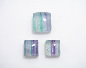 3 square AAA banded MULTICOLOR FLUORITE Gemstone Cabochon. High Quality.