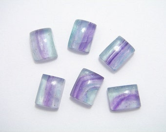 6 FLUORITE  AAA  MULTICOLOR Gemstone square Cabochon. High Quality.
