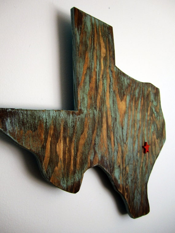 Blue Wood Texas Wall Decor with Star where YOU live.