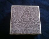 Ceramic tile coasters, gray damask pattern, set of 4
