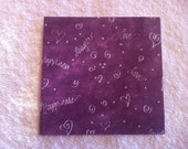 Made to order ceramic tile coasters - love, laughter & happiness in purple, set of 4