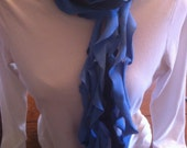 Upcycled t-shirt scarf shades of blue