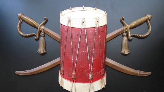 Vintage Drum and Swords Wall Hanging