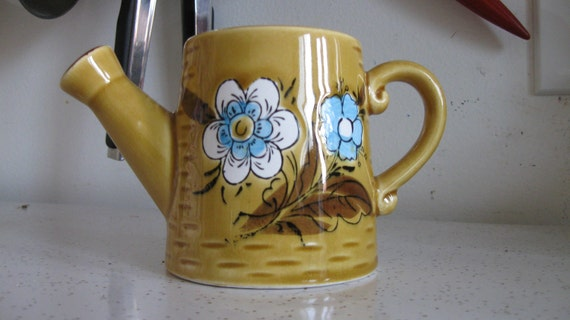 Yellow Ceramic Decorative Watering Can With Flower Design