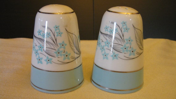 Salt and Pepper Shakers : Teal, White, and Silver Floral Design