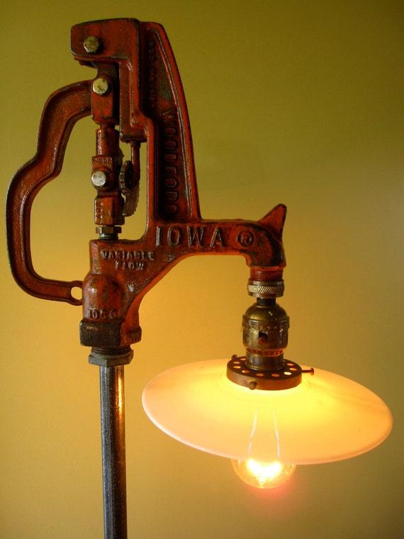 Reclaimed Repurposed Vintage Industrial Water Pump Light