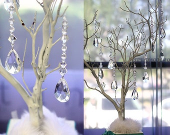 Hanging Crystals for Manzanita Tree Centerpiece, Trumpet Vase, Candelabra,Manzanita Branch,Tree,Wishing Tree,wedding decoration, chair sash