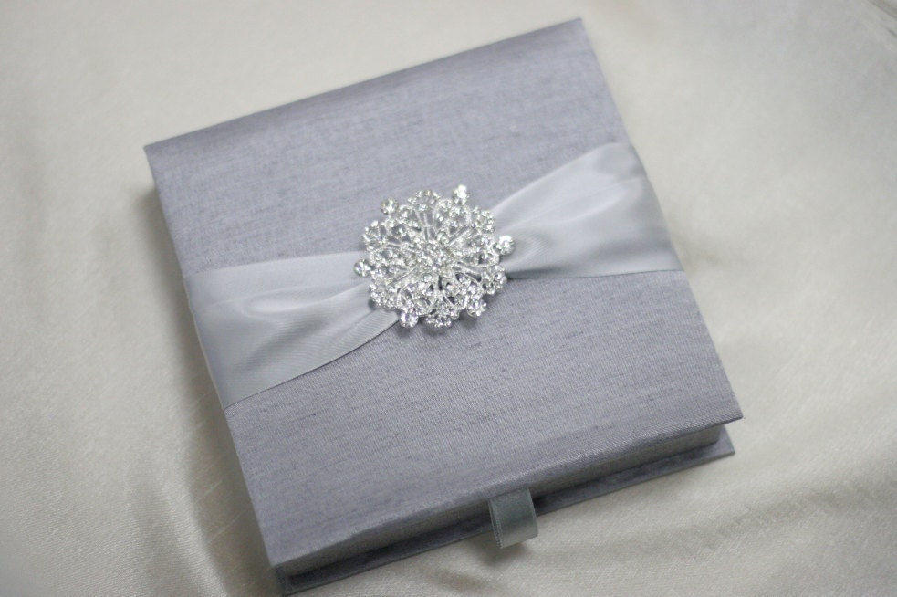 Wedding Invitation Silk Fabric Box With Satin Ribbon And A