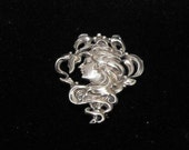 Vintage Sterling Silver Repousse Brooch Pendant Art Nouveau Revival Style Marked 925 25.00 O.B.O.