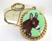 """RESERVED For ladurand: Vintage PENDANT Necklace Hand Painted DONKEY Head Study Gold Tone Setting 17"""" Chain"""