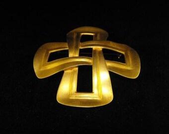 Maxine Denker Brooch Golden Luster BIG 80s Bling Oversize Vintage Jewelry