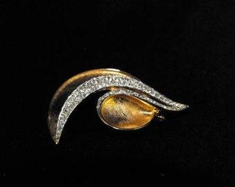 Rhinestone Goldtone Brooch Vintage Numbered Edition