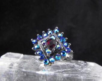 Vintage Cocktail Ring Multi Color Rhinestones Dark Metal Band Size 7 Sparkling Fashion Ring