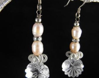 Clear Quartz Earrings Floral Motif Carved In Clear Quartz Crystal Freshwater Pearls Sterling Silver