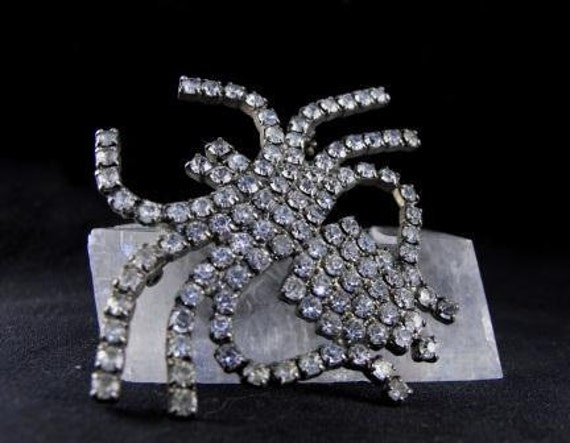 Vintage RHINESTONE Brooch SPIDER Dazzling Large Insect Figural Pin  25.00 o.b.o.