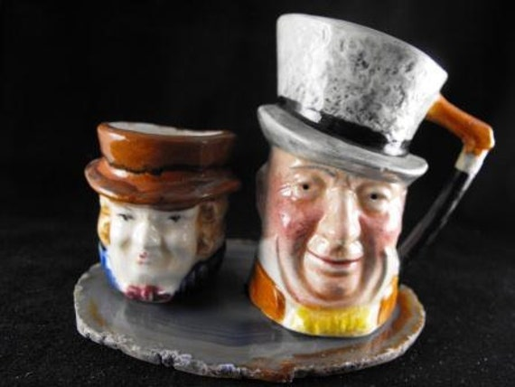 Vintage TOBY JUG Mugs Lancaster Hand Painted Mr. Micauber and Friend Asking 25.00 o.b.o.