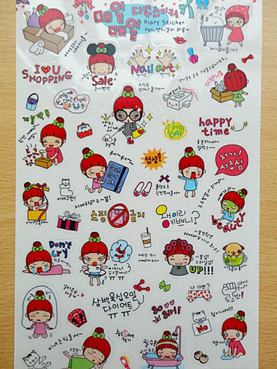 Korean diary decoration stickers. Ver.1- Red hair girl.