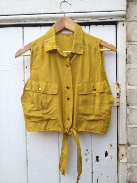 Vintage 80's mustard yellow reworked knot silk blouse with gold buttons medium uk 10-12