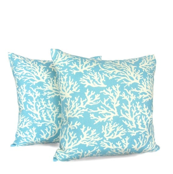 SALE ITEM --- Aqua Coral Reefs Indoor/ Outdoor Pillow Covers - Set of 2 - Ready to ship