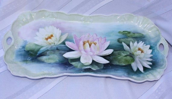 Dresser Tray with hand painted Water Lilies