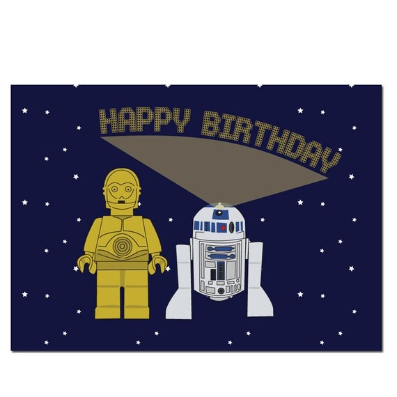 R2D2 Lego Star Wars Birthday Card – Lego Birthday Card