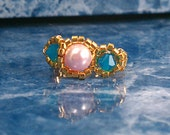 Three Gem Ring- Pink Pearl with Blue Crystals 24Kt. gold band