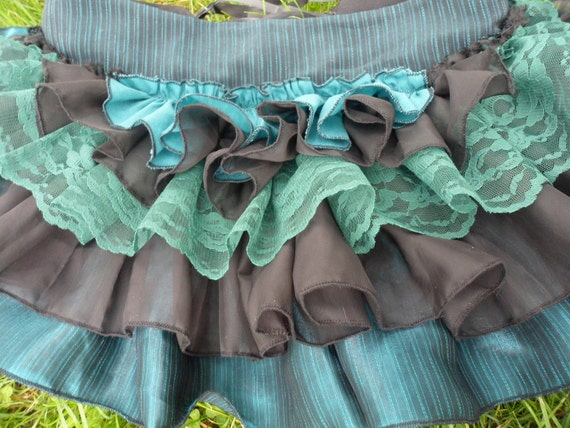 Bustle - Sexy Burlesque, Steampunk or Victorian Bustle, with Ruffles in Black and Teal