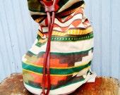 Vtg Aztec drawstring Native print canvas ethnic backpack tote