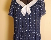 R E S E R V E D Sheer Polka Dot Dress. Navy & White. 1930s Style. Big Bow. Sweetheart.