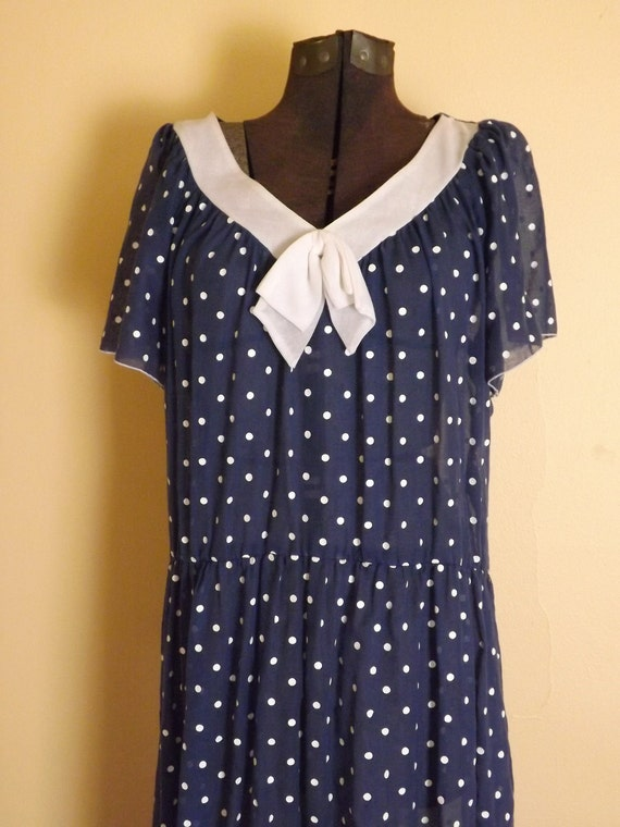 R E S E R V E D Sheer Polka Dot Dress. Navy & White. 1930s Style. Big Bow. Sweetheart.