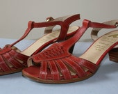 "Vintage Clarks K ""Cabello"" 50s Stacked Heel, Open Toe, Rust Red Leather Sandals/Shoes, UK 5 (38). So very cute, Ideal for Summer"