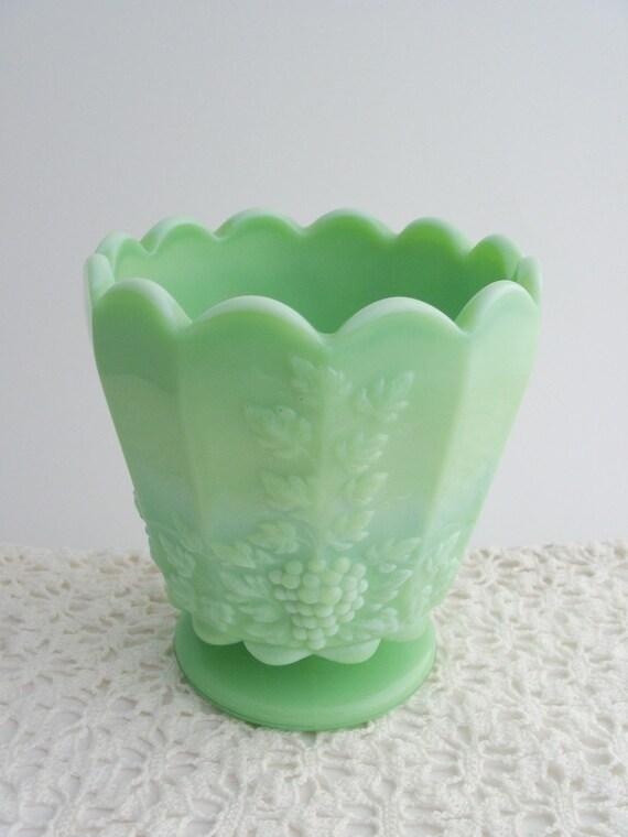Westmoreland Jadeite Slag Glass Paneled Grape Pedestal Planter Vintage