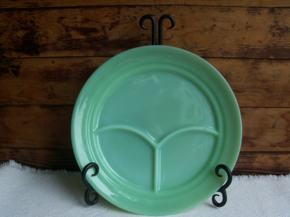 "Jadeite Grill Plate - Fire King Divided Restaurant Ware 9-1/2"" Dinner Plate Vintage 1950s"