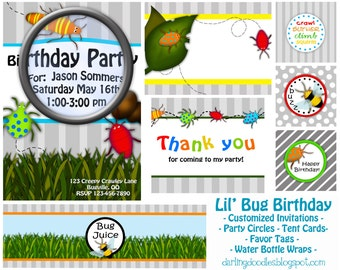 Bug Birthday Party - Bug Party Invites - Bug Birthday Invitation - Bug Party Decor - Summer Birthday Party - Printable Bug Party - Boy Party