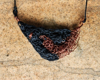 Unique Crocheted Copper Wire and String Necklace - Black Ethnic Tribal Nomad