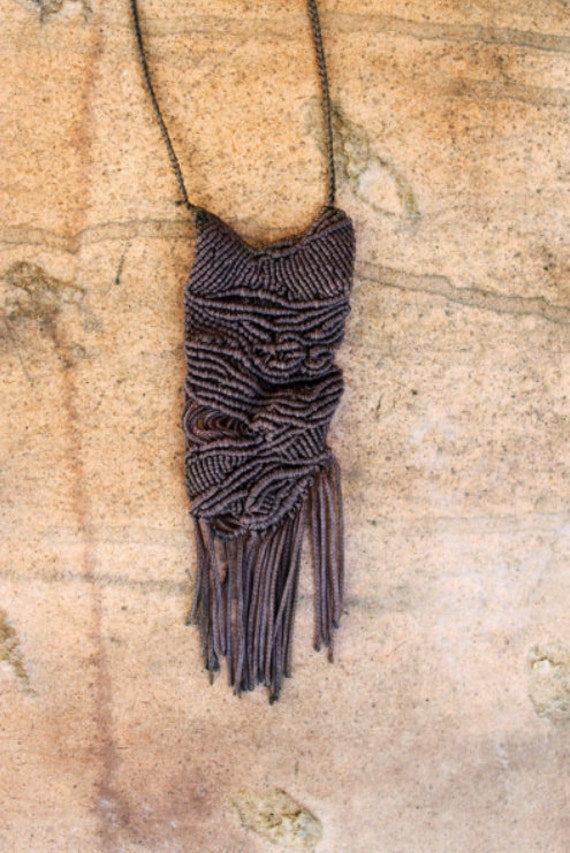 from the woods - special designer Fringe Necklace Macrame
