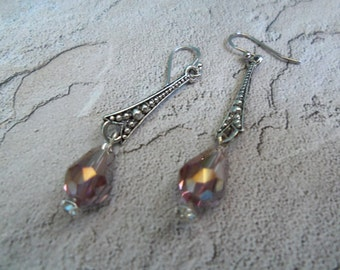 Swarovski Iridescent Crystal Teardrop Faceted Cut Dangle Earring with Vintage Silver Connector and Silver Ear Wire Bridal Party Jewelry