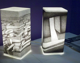 Artistic Table Lamps (choose 1 from 2 styles): from original pencil drawing artwork