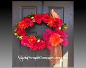 CLEARANCE Spring wreath, floral wreath front door wreath, summer wreath